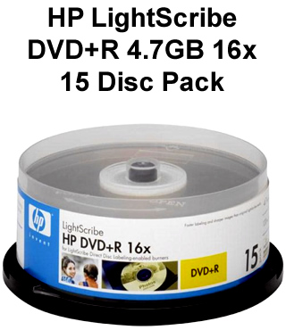 HP LightScribe DVD+R 15 Disc Pack