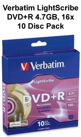 Verbatim Light Scribe DVD+R Discs, 4.7GB, 16x 10Pack